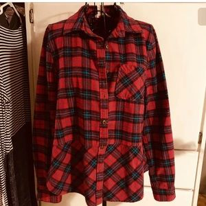 SUNDANCE Red Plaid Flannel Shirt Size Large